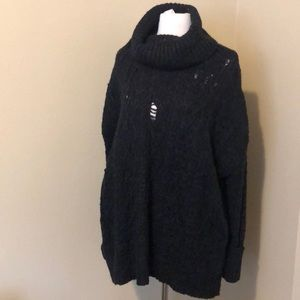 Free People Oversized Black Intended Tears Sweater
